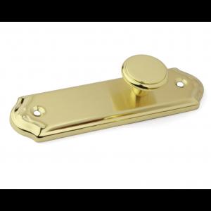 RVS deurknop op schild 125x34mm Messing