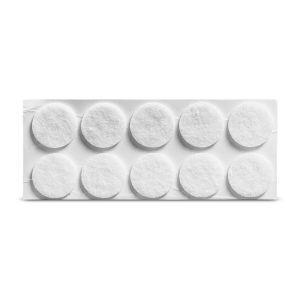Viltglijder zelfklevend 25x25mm - wit, 8 stuks